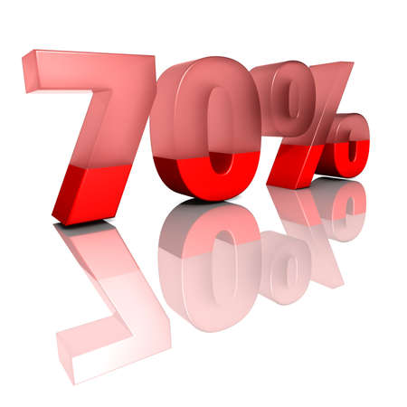 ciphers: Seventy percent   Sign for seventy per cent in red ciphers on a white background