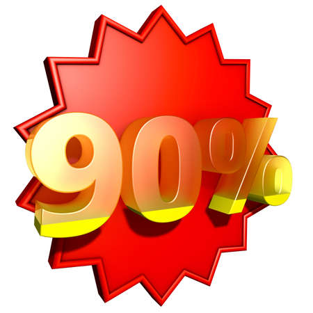 ninety: Ninety percent   Sign for ninety per cent in yellow ciphers on a round serrated disc in red