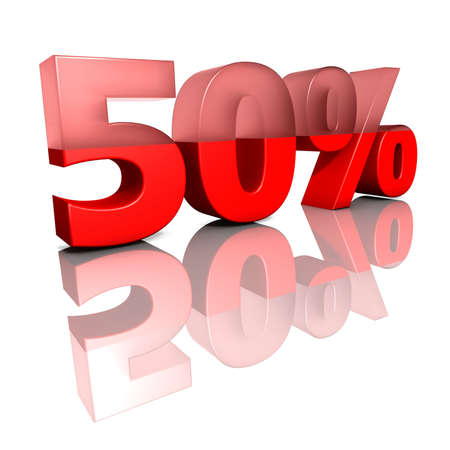 Fifty percent  Sign for fifty per cent in red ciphers on a white background