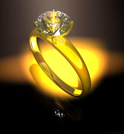 fascinação: Anel de diamante anel de ouro com um diamante em um fundo preto Banco de Imagens