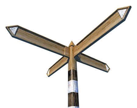 arrow wood: Old weathered finger post arrow of wood Stock Photo