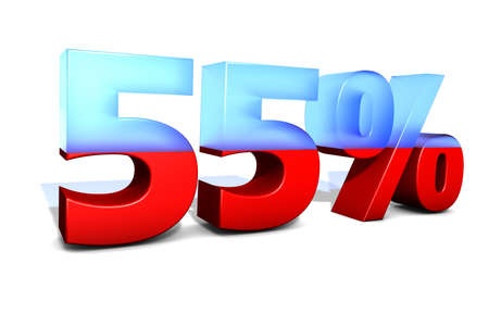 55 Fiftyfive percentage in 3D letters with split in two material photo