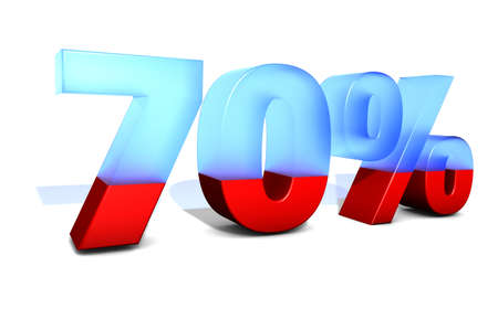 trade off: 70 Seventy percentage in 3D letters with split in two material Stock Photo