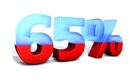 sixty: 65 65 Sixty Five Sixty five percent percentage in 3D letters with split in two material