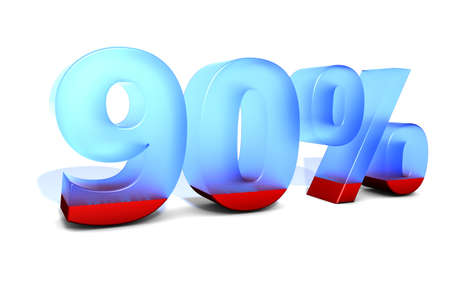 augmentation: 90 90 ninety ninety percent percentage in 3D letters with split in two material