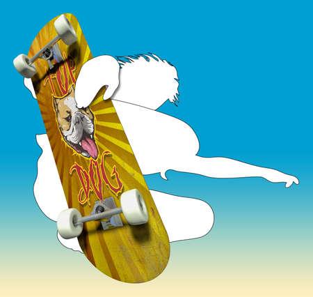 Skater silhouette avec planche à roulettes impressionStylos Banque d'images - 41162339
