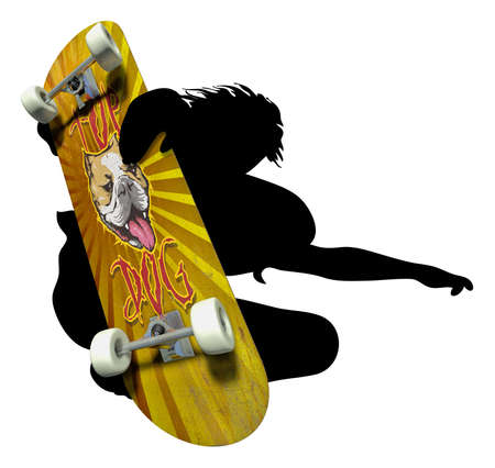 Skater silhouette with imprinted skateboard