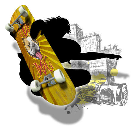 axles: Skater silhouette with imprinted skateboard