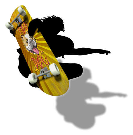 feat: Skater silhouette with imprinted skateboard