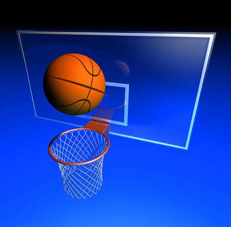 metal net: Illustration of a basketball hoop fitted at a whiteboard and a basketball ball Stock Photo