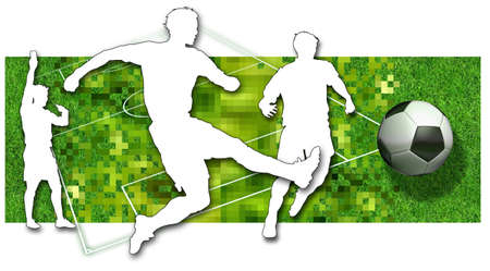touchline: Silhouette of two soccer players, a ball in black and white and parts of a football pitch Stock Photo
