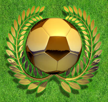 offside: Soccer Ball Soccer Ball in golden laurel wreath on green field Stock Photo