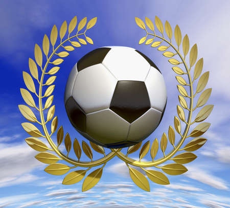 offside: Soccer ball in golden laurel wreath in front of blue sky