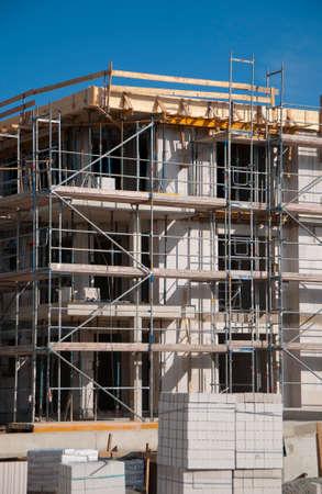 ocas: Detalle Obra de construcción de un cantería casa con el andamio