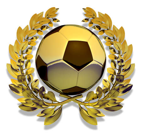 golden laurel wreath: Soccer ball in golden laurel wreath Stock Photo