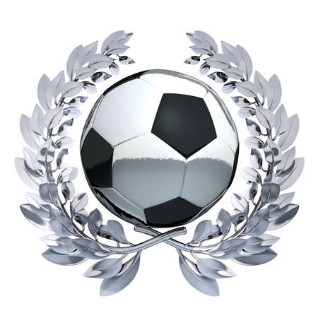 Soccer Ball Soccer Ball in silver laurel wreath photo