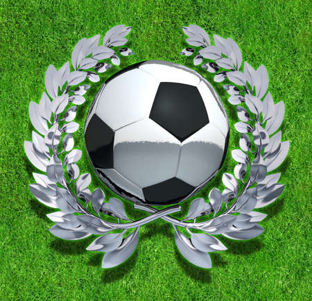 offside: Soccer Ball Soccer Ball in silver laurel wreath on field