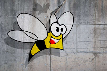 pollination: Bee happy illustration laughing on cement concrete wall Stock Photo