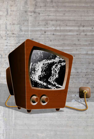 audiovisual: TV noise tube television with gray background