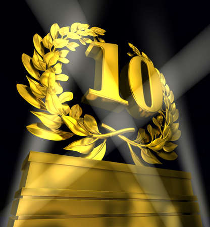 golden laurel wreath 10 years: 10th number in golden letters at a pedestrial with laurel wreath