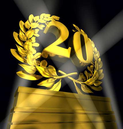 20 Número veinte en letras de oro en una peatonal con corona de laurel