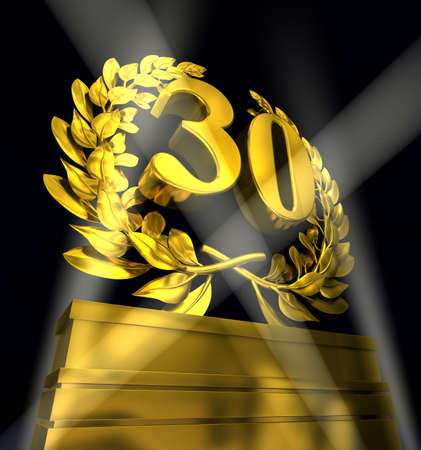 commemoration day: 30 Number thirty in golden letters at a pedestrial with laurel wreath