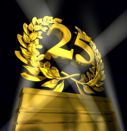 25: 25 twentyfive number in golden letters at a pedestrial with laurel wreath Stock Photo