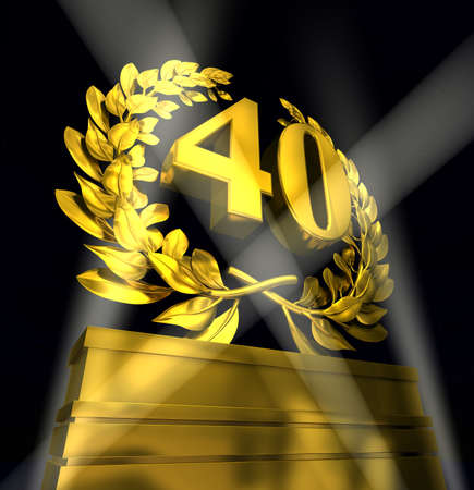 advancement: 40 fourty number in golden letters at a pedestrial with laurel wreath Stock Photo