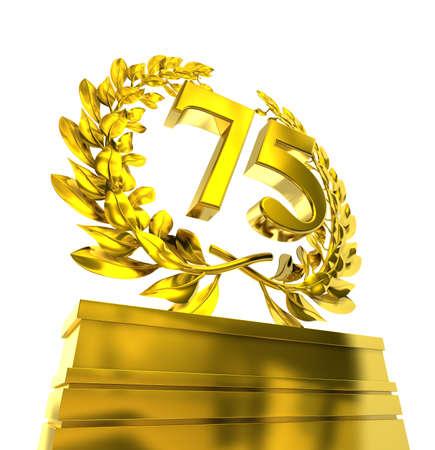 aniversario de boda: número 75seventyfive con letras de oro en una peatonal con corona de laurel