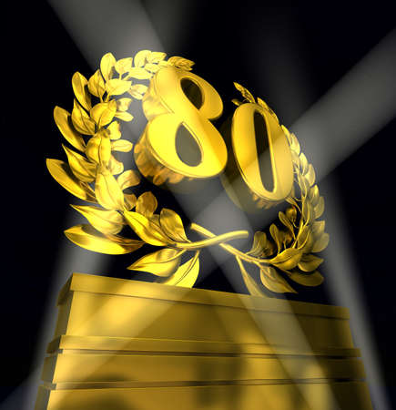 advancement: 80 Number eighty in golden letters at a pedestrial with laurel wreath