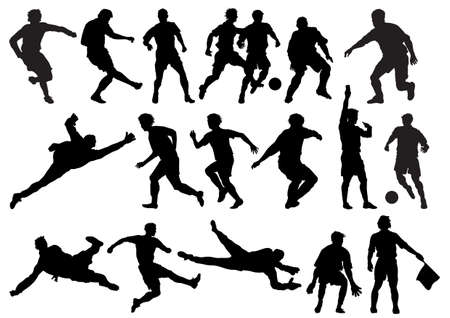 Soccer players and referee silhouettes.