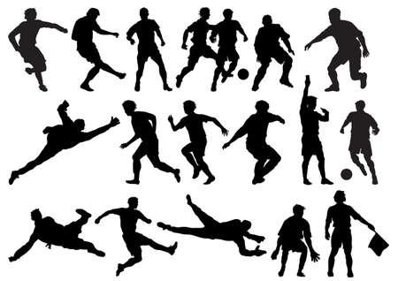 Voetballers en scheidsrechter silhouetten.