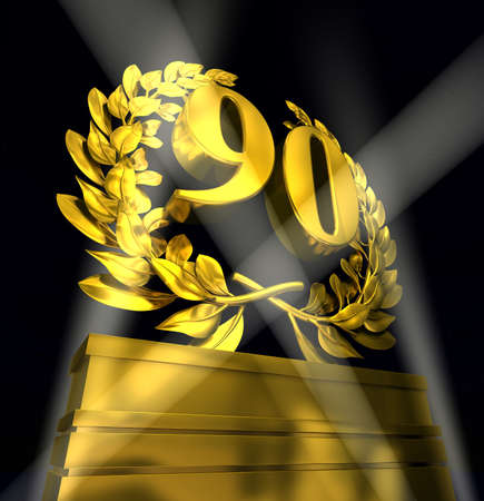 90: 90, ninety number in golden letters at a pedestrial with laurel wreath on black background