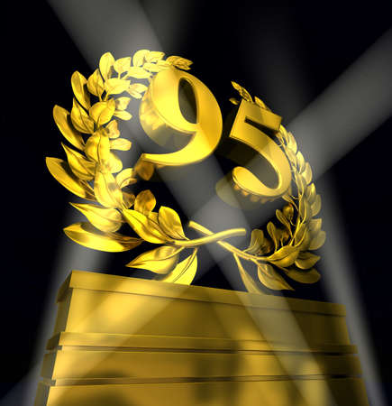 commemoration day: 95, ninety five number in golden letters at a pedestrial with laurel wreath on black background Stock Photo
