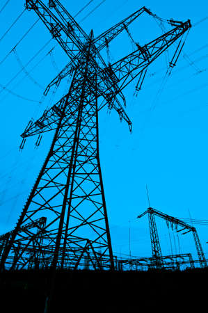 electrochemical: Tall electrical tower under a clear sky illustration Stock Photo