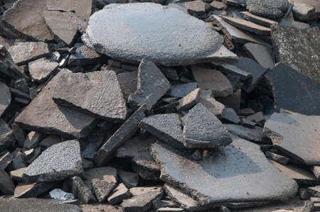 heaped: Asphalt recycling broken pieces heaped
