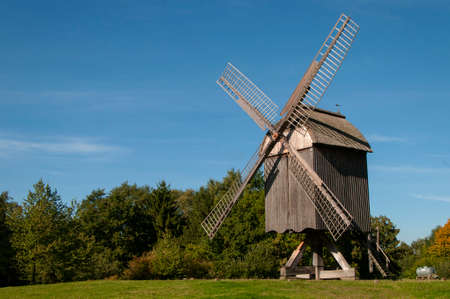 wind force wheel: Wind mill ancient at landscape museum