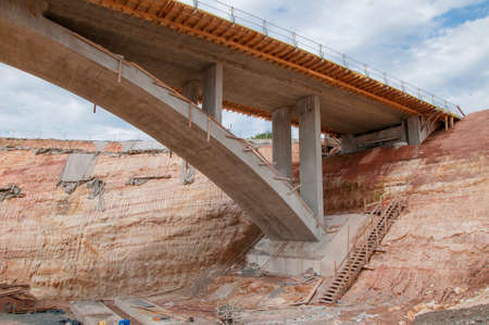 steadiness: Construction site of a motorway bridge