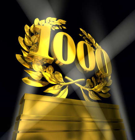 thousand: 1000onethousand thousand number in golden letters at a pedestrial with laurel wreath on black background Stock Photo