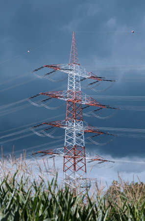 electrical tower: Tall electrical tower