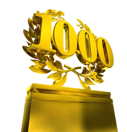 thousand: 1000 onethousand thousand number in golden letters at a pedestrial with laurel wreath on black background