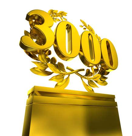 3000 threetausandaantal in gouden brieven bij a pedestrial met lauwerkrans op zwarte achtergrond