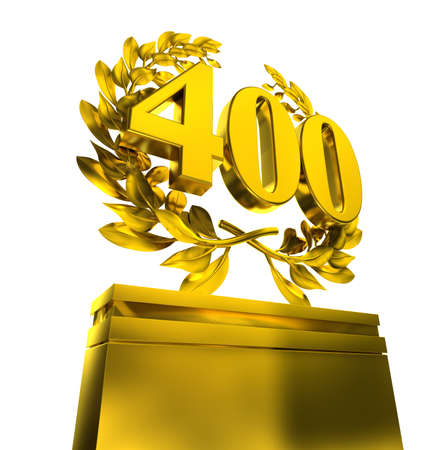 letras de oro: Número 400 4-100 en letras de oro con corona de laurel en blanco Foto de archivo