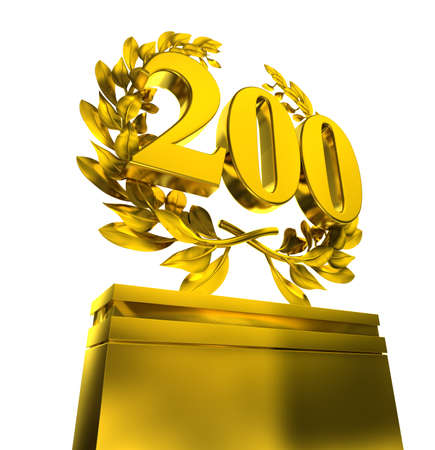 golden laurel wreath: 200 two-hundred number in golden letters with laurel wreath on white