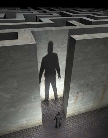 garden path: Labyrinth with man in front of entrance to dark mystic maze