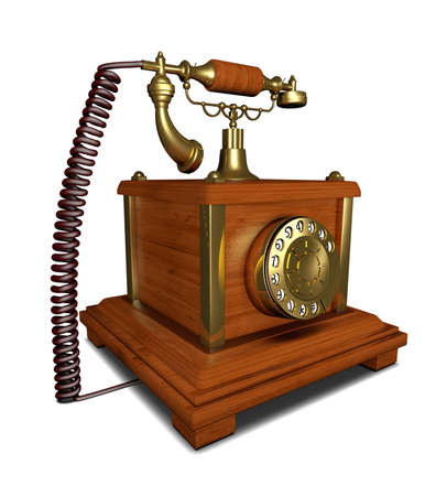 ancient telephone: Ancient telephone made of wood with dial plate