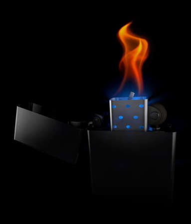 inflame: metal Lighter in the dark at night