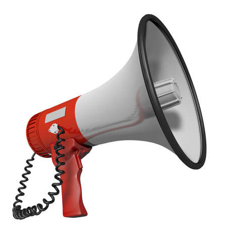 cropped: Megaphone cropped in red and white Stock Photo