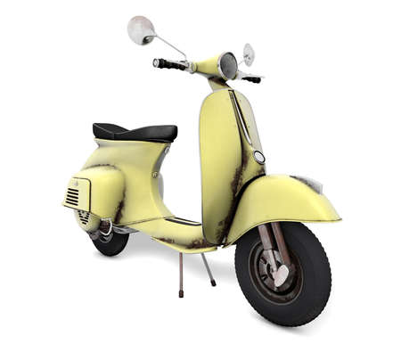 engine powered: Scooter yellow aged Stock Photo