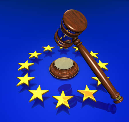 justice hammer: EU Rights and hammer Stock Photo